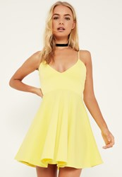 Missguided Yellow Strappy Plunge Skater Dress