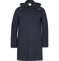 Mackintosh Cotton Hooded Raincoat Blue