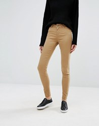 Vero Moda Mid Rise Smooth Skinny Jean Tigers Eye Brown