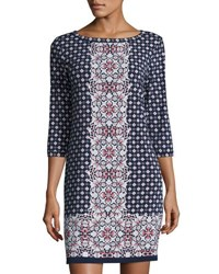 Max Studio Geometric Print Jersey Shift Dress Navy China
