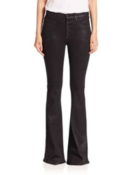 Hudson Jodi Button Fly Coated Flared Jeans Noir Coated