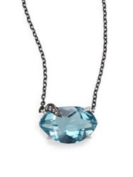 Alexis Bittar Fine Sky Marquis Blue Quartz White Sapphire And Sterling Silver Small Pendant Necklace Silver Blue