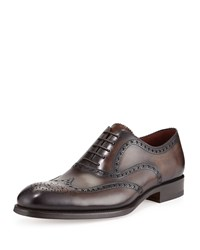 Magnanni Burnished Leather Wing Tip Oxford Brown