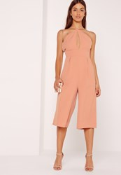 Missguided Crepe Keyhole Cut Out Culotte Jumpsuit Pink Pink