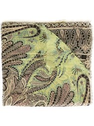 Etro Printed Silk Scarf Green