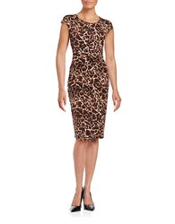 Rafaella Giraffe Print Faux Wrap Dress Deep Sepia