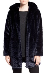 Sam Edelman Women's Hooded Faux Fur Coat Ink