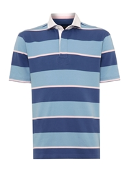 Howick Powell Stripe Short Sleeve Rugby Blue