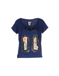 Franklin And Marshall Topwear T Shirts Women Dark Blue