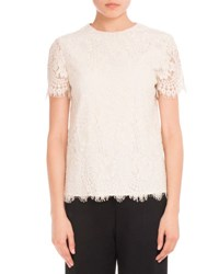 Victoria Beckham Fitted Lace T Shirt Off White