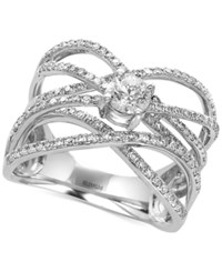 Effy Pave Classica By Diamond Crisscross Ring 9 10 Ct. T.W. In 14K White Gold