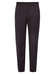 Giorgio Armani Pleated Flannel Wool Trousers Navy
