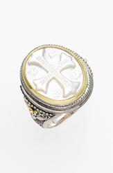 Konstantino 'Athena' Mother Of Pearl Signet Ring Silver Gold