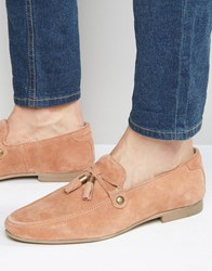 Asos Loafers In Pink Suede With Tie Front Tassel Pink