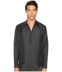 Marc Jacobs Slim Fit Silk Twill Button Up Pirate Black Combo