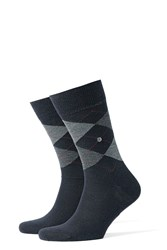 Burlington Printed Virgin Wool Ankle Socks Blue