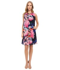 Vince Camuto Printed Chiffon Overlay Underdress With Binding Pleat Navy Multi Women's Dress Blue