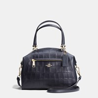 Coach Prairie Satchel In Croc Embossed Leather Light Gold Navy