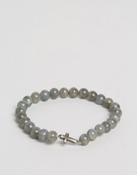 Simon Carter Labradorite Cross Beaded Bracelet Exclusive To Asos Grey