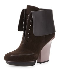 Phillip Lim 3.1 Juno Runway Fold Over Suede Bootie Espresso Black Brown Black