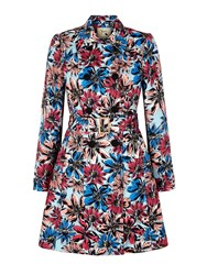 Yumi Floral Print Trench Coat Multi Coloured