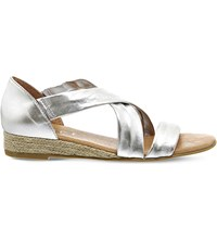 Office Hallie Metallic Leather Sandals Silver Leather