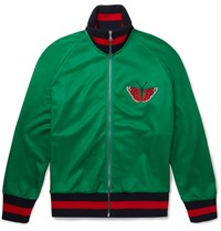 Gucci Appliqued Printed Tech Jersey Zip Up Sweatshirt Green