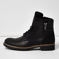 River Island Mens Black Leather Military Boots