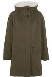 Yves Salomon Shearling Lined Twill Parka Army Green