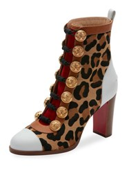 Christian Louboutin Who Dances Button 85Mm Red Sole Bootie Gold Leopard