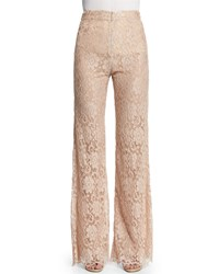 Christopher Kane High Waist Flare Leg Lace Pants Nude