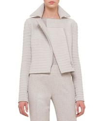 Akris Long Sleeve Ribbed Moto Jacket Gravel Grey