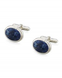 David Donahue Oval Sodalite Cuff Links Silver