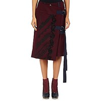 Sacai Women's Love Will Save The Day Embroidered Skort Burgundy