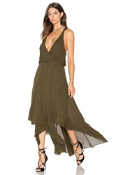 Haute Hippie Chiffon Godets Leather Wrap Dress Olive