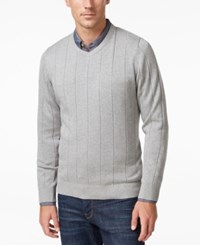 John Ashford Men's V Neck Striped Texture Sweater Only At Macy's Light Grey Heather