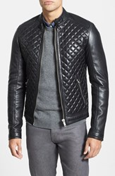 Lamarque Men's Big And Tall Quilted Lambskin Leather Moto Jacket Black