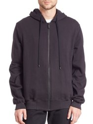 Public School Ollan Ruched Zup Solid Hoodie Anthracite