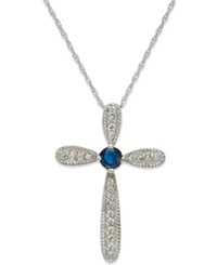 Macy's 10K White Gold Necklace Sapphire 1 6 Ct. Tw. And Diamond Accent Cross Pendant 1 4 Ct. T.W.