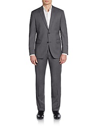 Saks Fifth Avenue Red Pindot Trim Fit Wool Suit Grey Pindot