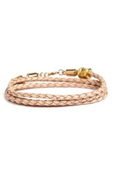 Half United Women's 'Honeycomb' Leather Wrap Bracelet Natural
