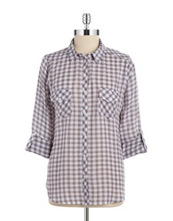 Candc California Checkered Button Down Blouse Light Faded Black