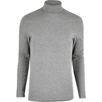 River Island Mens Grey Muscle Fit Roll Neck Jumper