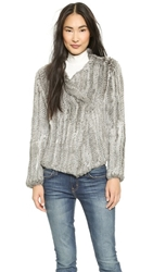 Joie Aviana Fur Jacket Grey Natural