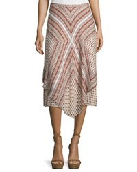 Derek Lam Mitered Multipattern Handkerchief Midi Skirt Cream Multicolor Cream Multi