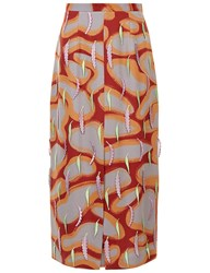 Marco De Vincenzo Burgundy And Grey Embroidered Pencil Skirt