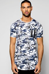 Boohoo Fit Camo Zip T Shirt With Scooped Hem Blue