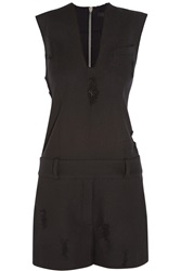 Alexander Wang Distressed Cotton Twill Playsuit Black