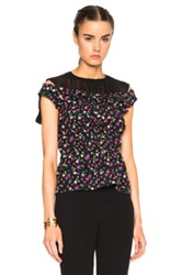 Nina Ricci Flower Print Blouse With Georgette Details In Black Floral