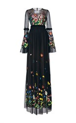 Andrew Gn Floral Long Sleeve Gown Black